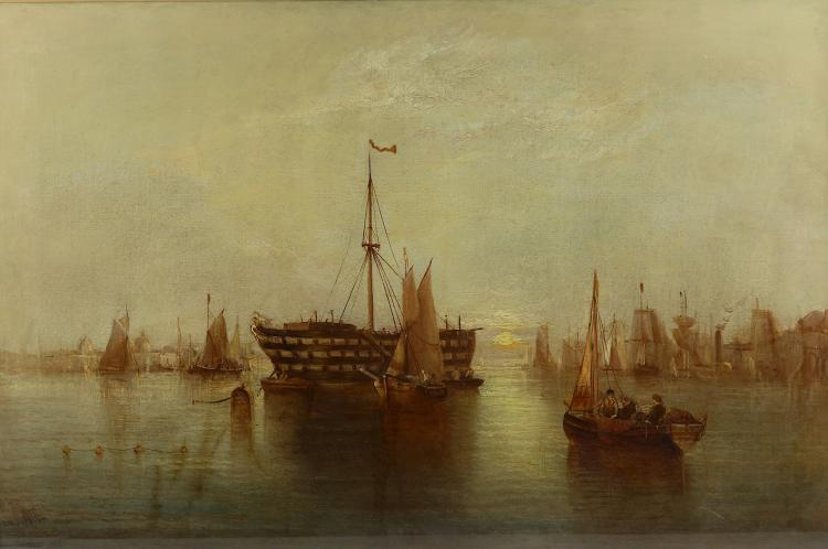E.J. WATT (19TH CENTURY) An extensive Thames view from Greenwich, sunset with prison hulk signed lower left oil on canvas laid to board 51 x 76cm Framed and Glazed