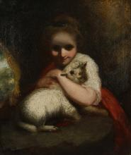 CIRCLE OF SIR JOSHUA REYNOLDS (BRITISH 1723 - 1792)  An oil study of a girl hugging a lamb  Oil on canvas.1  76cm x 63.5cm.  Framed, various labels verso.   FOOTNOTE: This study relates closely to Reynold's work 'The Careful Shepherdess'