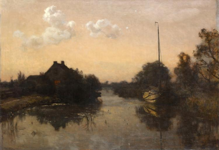 WILLEM BASTIAAN THOLEN (DUTCH 1860-1931) Zomernacht, Moonlit canal scene, The Hague Signed lower left Oil on canvas 71 x 102cm (28 x 40.25in) Unframed Various labels verso