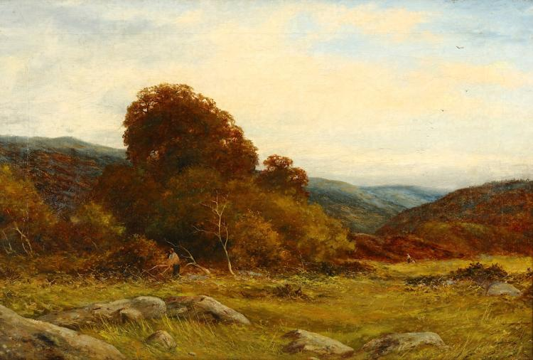 ENGLISH SCHOOL (19TH CENTURY) Country landscape with tree feller Oil on canvas 40 x 60cm (15.75 x 23.5in) Modern frame