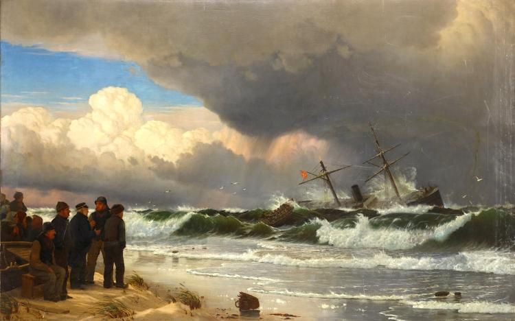 CHRISTIAN BLOUCHE (DANISH 1838-1920) Seascape with figures Signed, inscribed and dated 'Chr. Blouche(?) Kjobenhavn, 1877' Oil on canvas 110 x 178cm (43.5 x 70in) Unframed