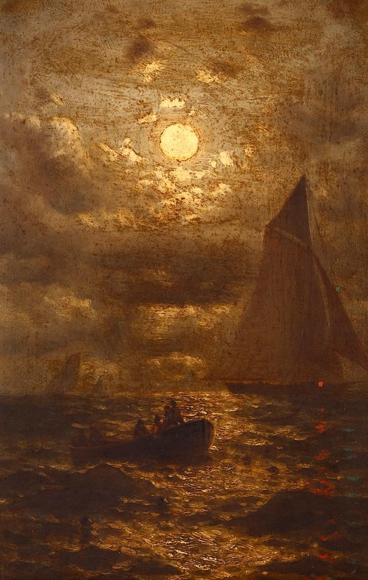 ATTRIBUTED TO RALPH ALBERT BLAKELOCK (AMERICAN 1847 -1919) Boats in a moonlit sea Oil on board 30 x 19cm (12 x 7.5in) Gilt frame