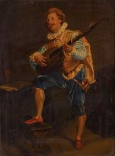 GERMAN SCHOOL (19TH CENTURY)   A fine pair of portraits of a man seated, smoking and a musician   Oil on panel   31 x 23cm (12.2 x 9in)   Gilt Frames (2)