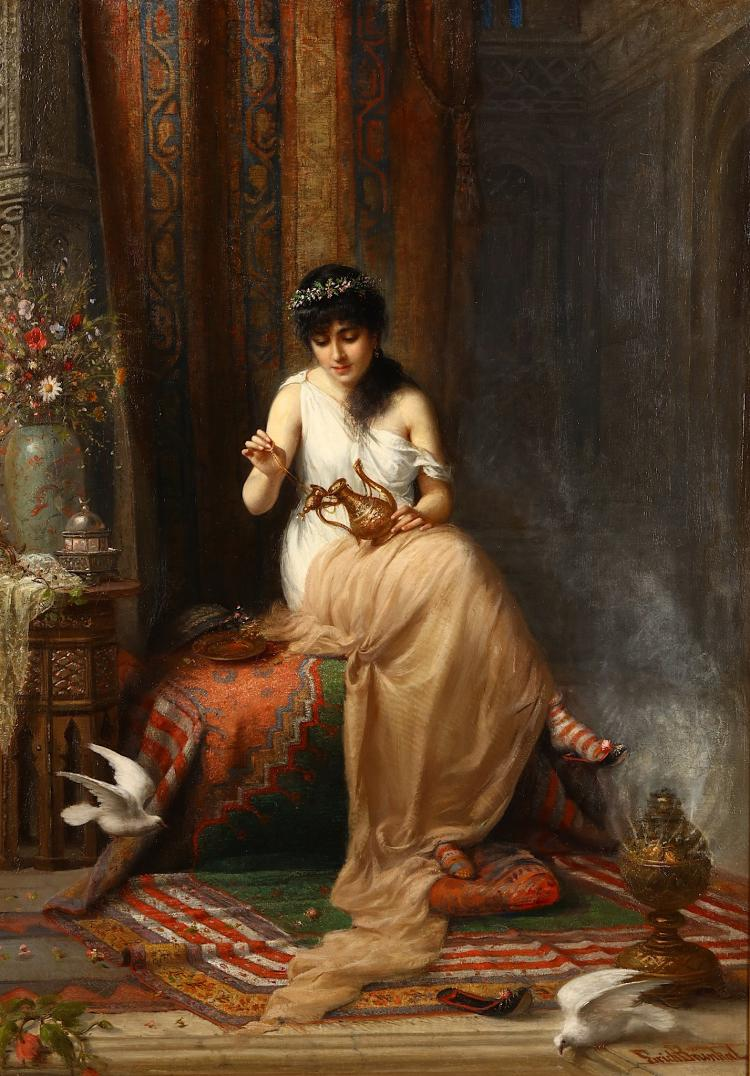 ERICH BRUNKAL (GERMAN 1859-1930) A beautiful maiden in a Middle Eastern interior, Orientalist Oil Oil on canvas Signed lower right 90 x 64cm (35.5 x 25in) Fine gilt frame Various inscriptions on label verso