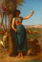 LÉON ADOLPHE AUGUSTE BELLY (FRENCH 1827-1877)  The Beautiful Shepherd Girl  Signed lower left  Oil on canvas  94 x 64cm (37 x 25in)  Impressive gilt frame