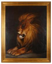 ENGLISH SCHOOL (c.1840)  Portrait of a Lion  Oil on canvas  Framed  126 x 100cm (50 x 39.5in)