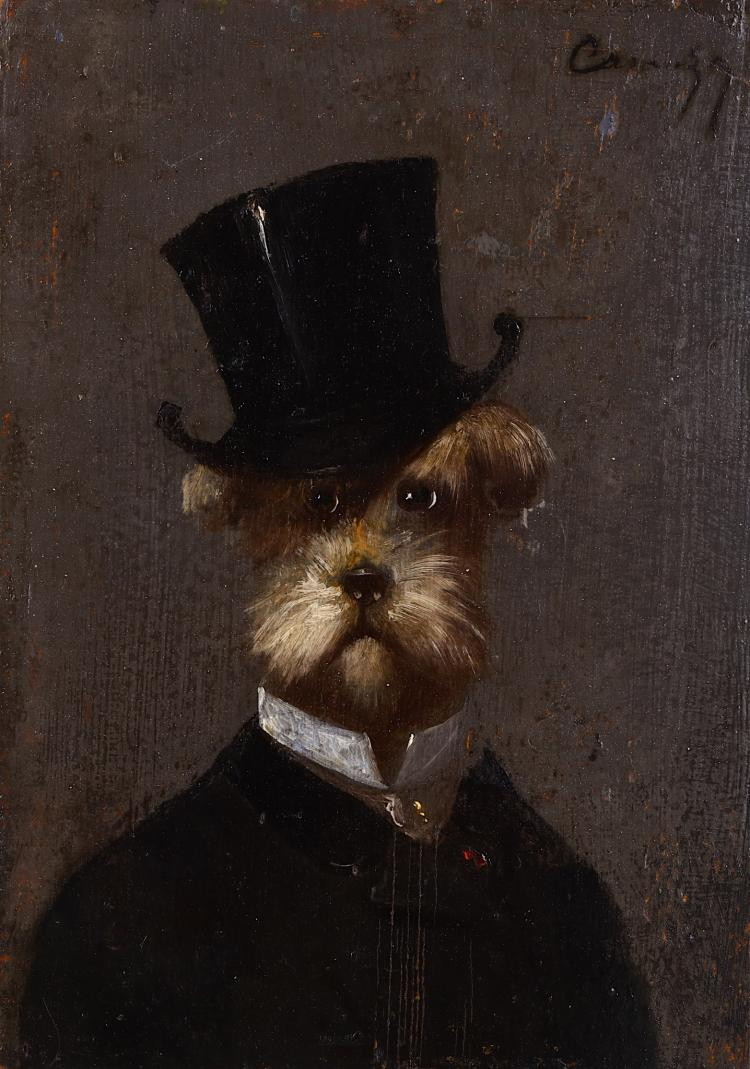 CAZAGNY (FRENCH 19th CENTURY) Portrait of a Dog Wearing aTop-Hat Oil on panel. Signed upper right. 22 x 15.5cm (8 6/8 x 6 1/4in) Unframed