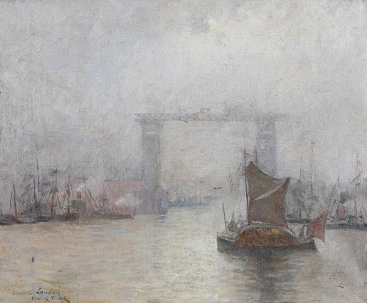 EDMOND PICARD (FRENCH 1861-1899) Tower Bridge Under Construction, an Impressionist view of the Thames Signed and dated 'June 1892' lower left Oil on canvas 37 x 45cm (14.5 x 17.75in) Gilt frame