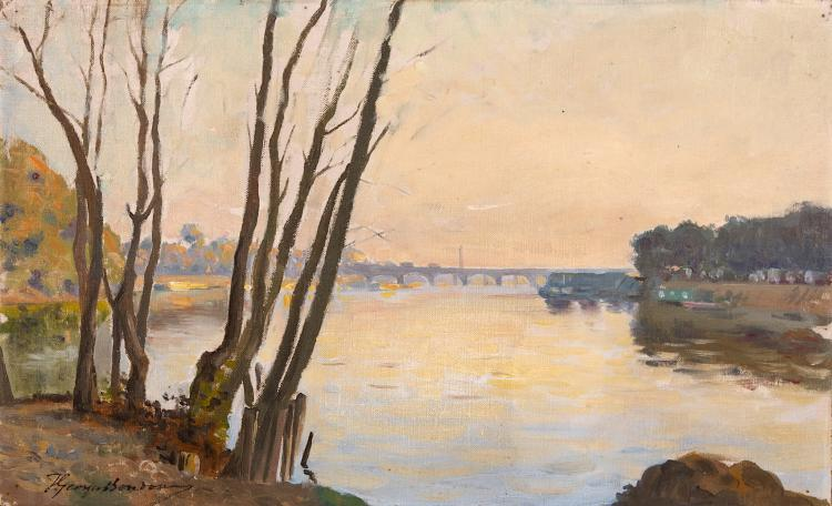 T.GEORGES BONDOUY (FRENCH LATE 19TH/ EARLY 20TH CENTURY) View of the Seine Singed lower left Oil on canvas laid to board 24 x 38.5cm (9.5 x 15.25in) Provenance: Trousson & Cie label verso