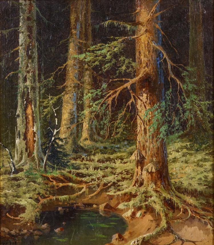 IVAN SHISHKIN (RUSSIAN 1832-1898) Pond in a wood Signed lower left Oil on canvas board 33.5 x 30cm (13.25 x 12in) Framed