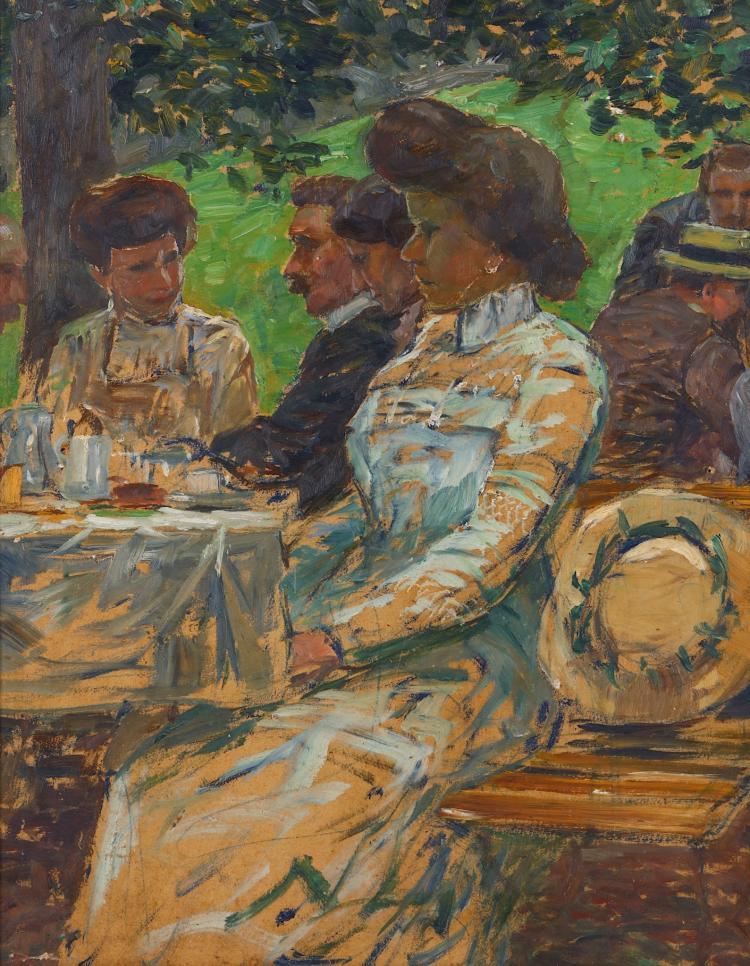 WIHELM NAGEL (GERMAN 1866-1944) Tea time ladies Inscribed verso Oil on board 44 x 34cm (17.25 x 13.25in) Framed