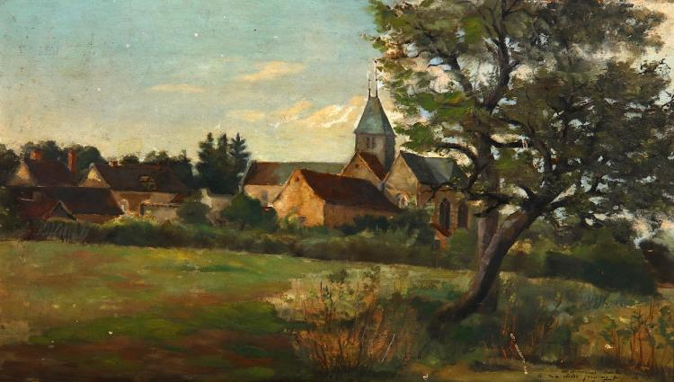 FRIDA TENNBAUM (EARLY 20th CENTURY) Church in a landscape Indistinctly inscribed, lower right Oil on panel 24cm x 40.5cm In a gilt frame
