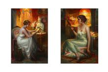 DELPHIN ENJOLRAS (FRENCH 1857 - 1945)  A pair of portraits of glamorous ladies at their dressing tables  Oil on canvas  Each signed   110 x 72cm (43.25 x 28.25in)  Gilt frames (2)