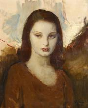 HOFFMAN (AMERICAN SCHOOL20TH CENTURY)  Portrait of young lady  Signed and dated lower right1934  Oil on canvas  58.5cm x 49cm (23 x 19in)  Framed