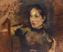 HUNGARIAN SCHOOL (EARLY 20TH CENTURY)  Portrait of an Asian Woman  Indistinctly signed middle right  Oil on metal  49 x 59cm (19.25 x 23.25in)
