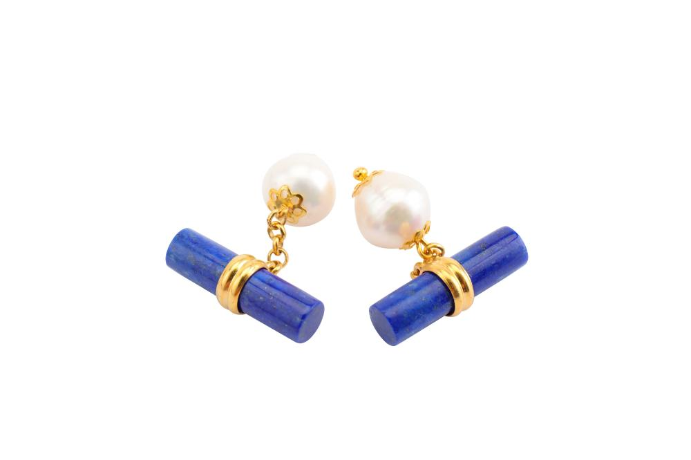 A pair of cultured pearl and lapis lazuli cufflinks