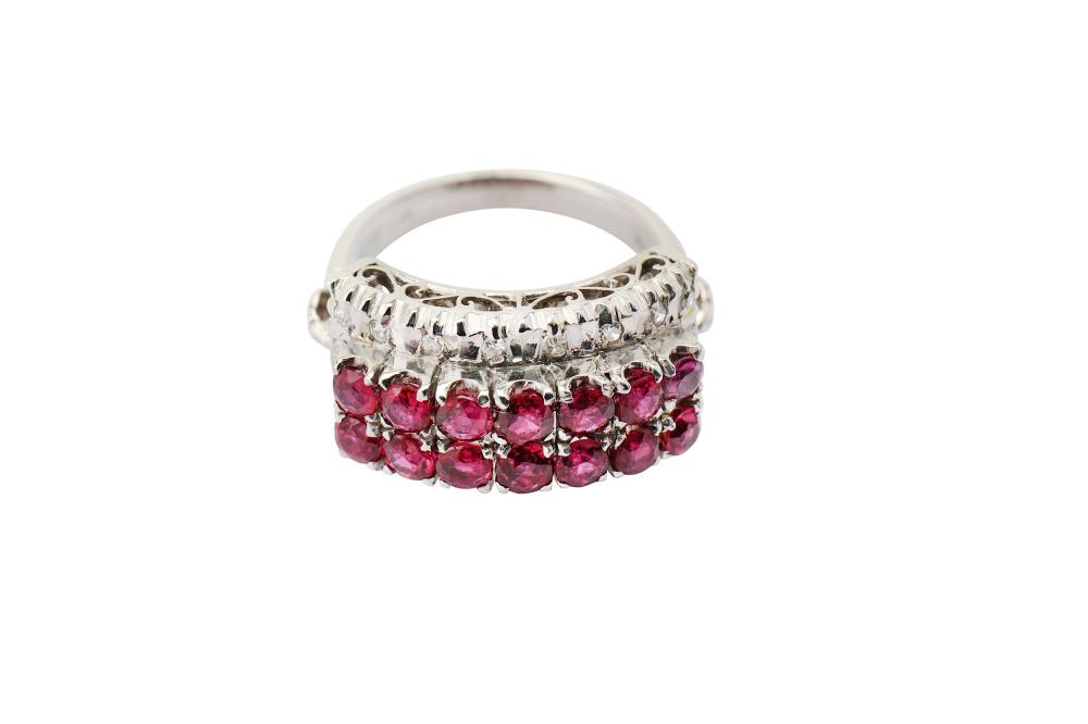 A ruby and diamond dress ring,