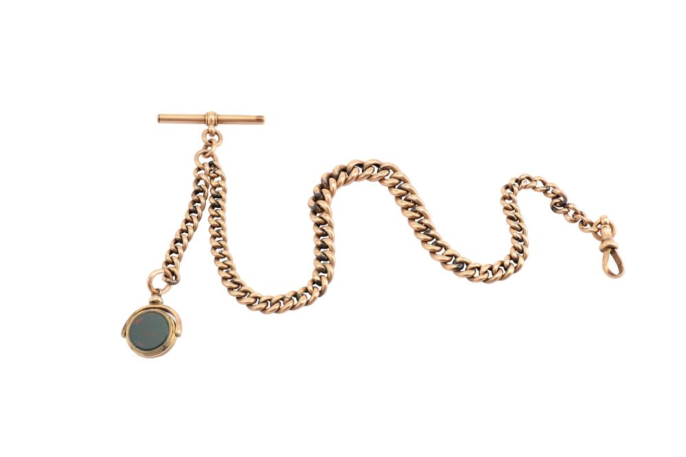 An Albert chain with a hardstone fob pendant