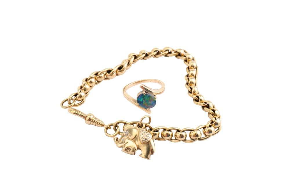 A 9ct gold fancy curb and belcher link bracelet and a ring