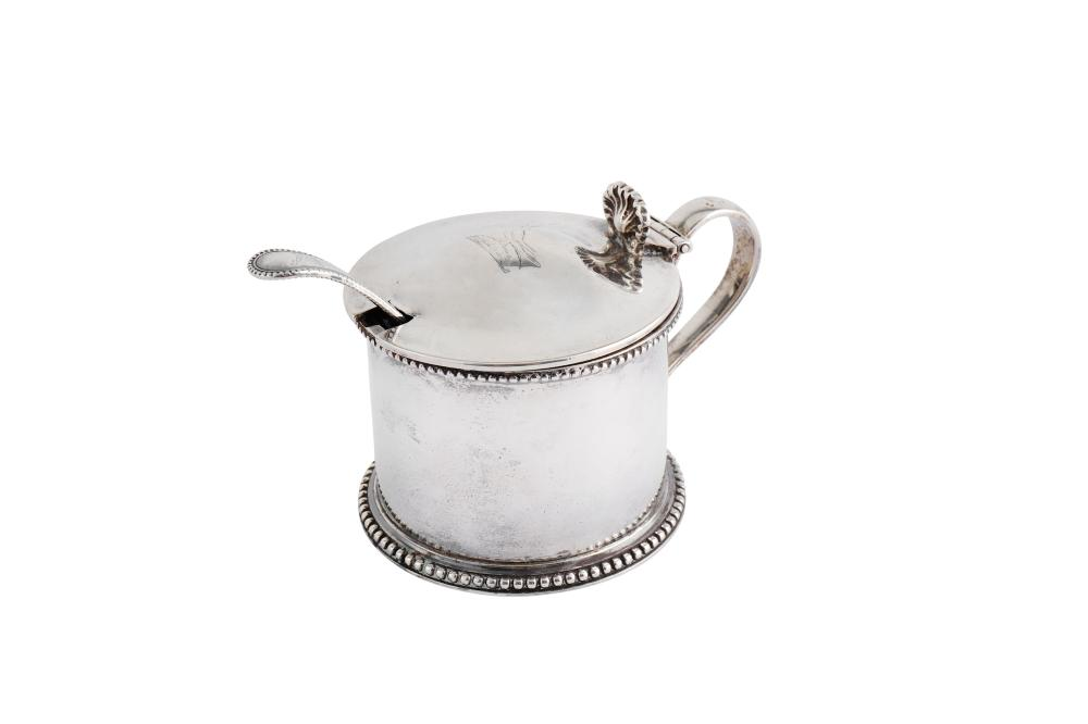 A Victorian sterling silver mustard pot, the body London 1874 by Francis Boone Thomas, the lid Londo