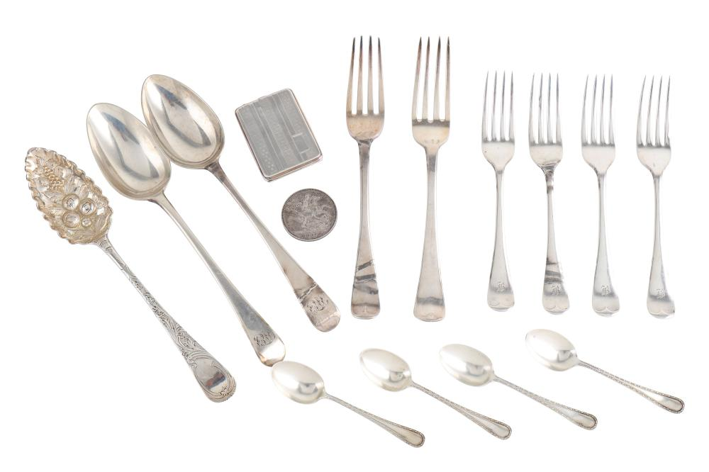 A mixed group of sterling silver flatware
