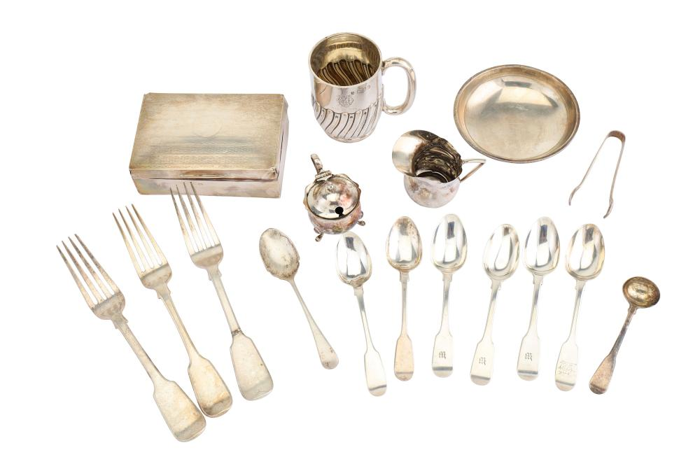 A mixed group of sterling silver