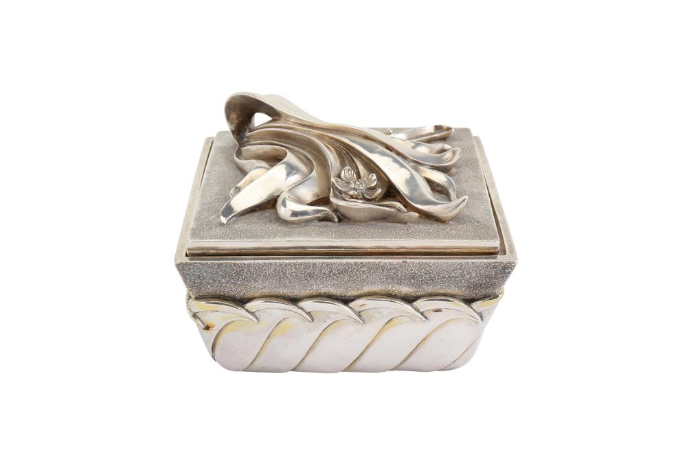 A late 20th century Italian sterling standard silver modernist jewelry casket, Florence circa 1980 b