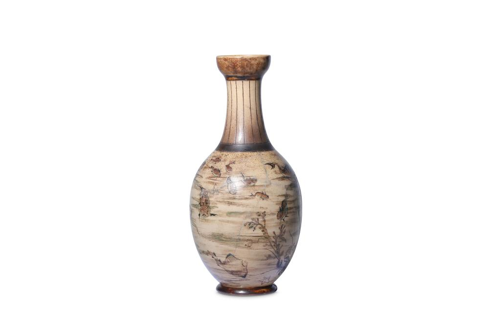 A large Martin Brothers stoneware Aquatic vase by Robert Wallace Martin, dated 1890,