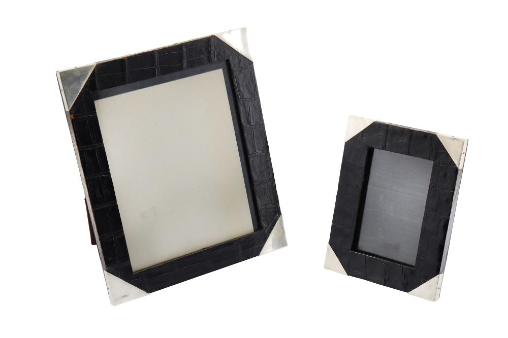 A graduated pair of modern sterling silver mounted faux crocodile photograph frame