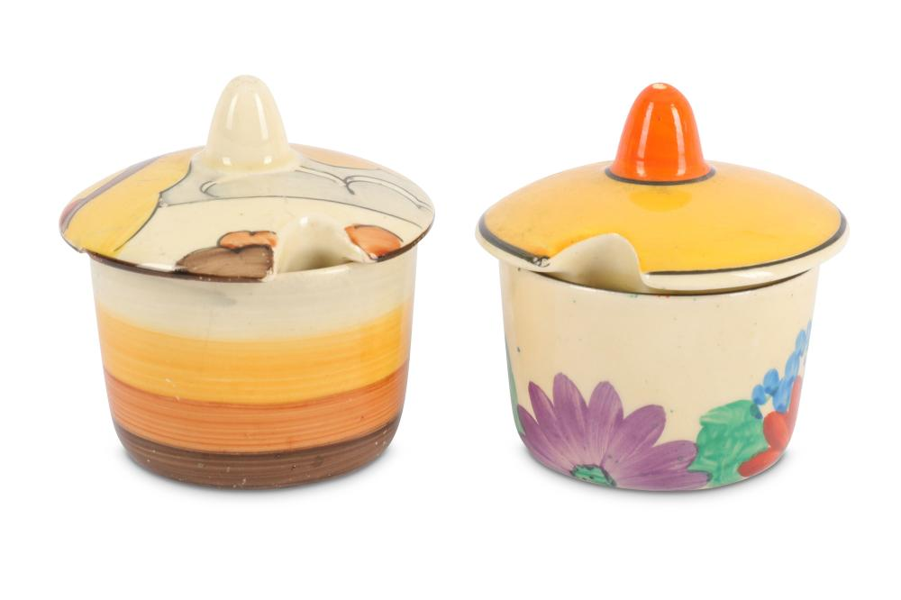 Clarice Cliff – Gayday - A circular mustard pot and cover,