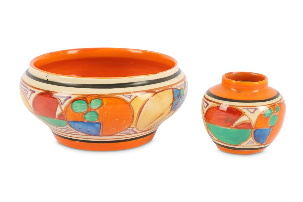 Clarice Cliff - Melon - a hand painted Ivor shaped bowl with abstract fruit