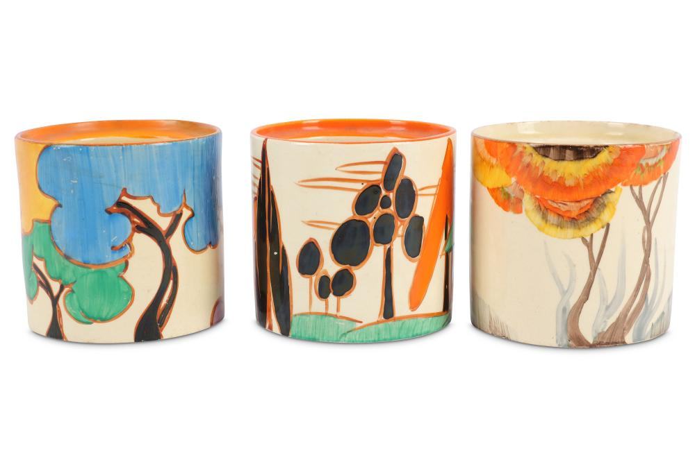 Clarice Cliff- Three hand painted drum shaped preserve pots