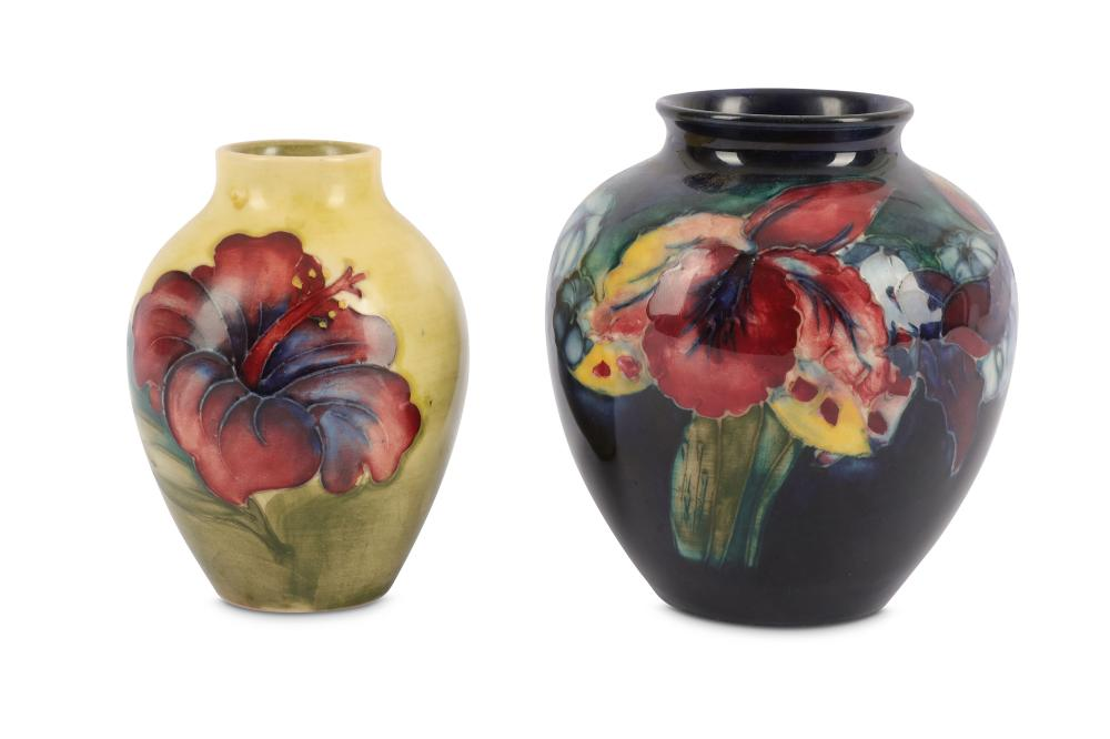 Walter Moorcroft -  Morrcroft Pottery - A small ovoid vase decorated in the Hibiscus pattern