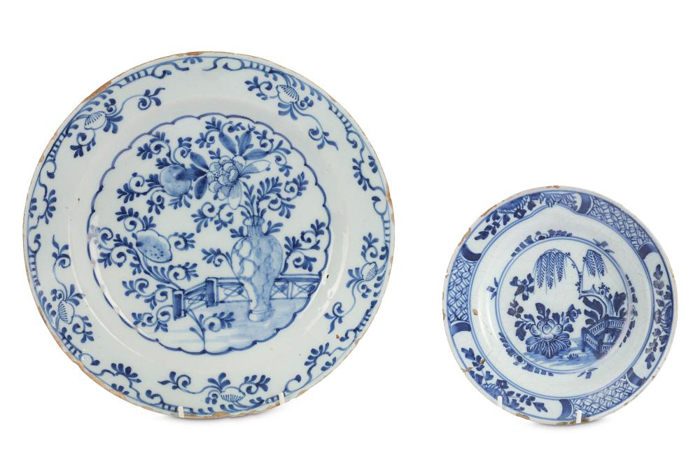 Two blue and white Delft plates.
