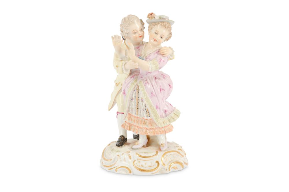 A Meissen figural group of two lovers, late 19th Century,