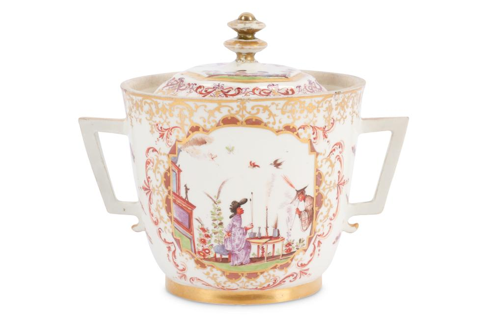 A Meissen porcelain Chinoiserie two handled beaker and associated cover, circa 1720,