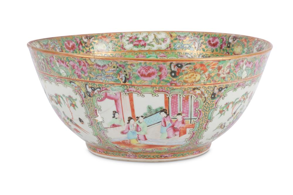 A Chinese Canton famille rose punch bowl.
