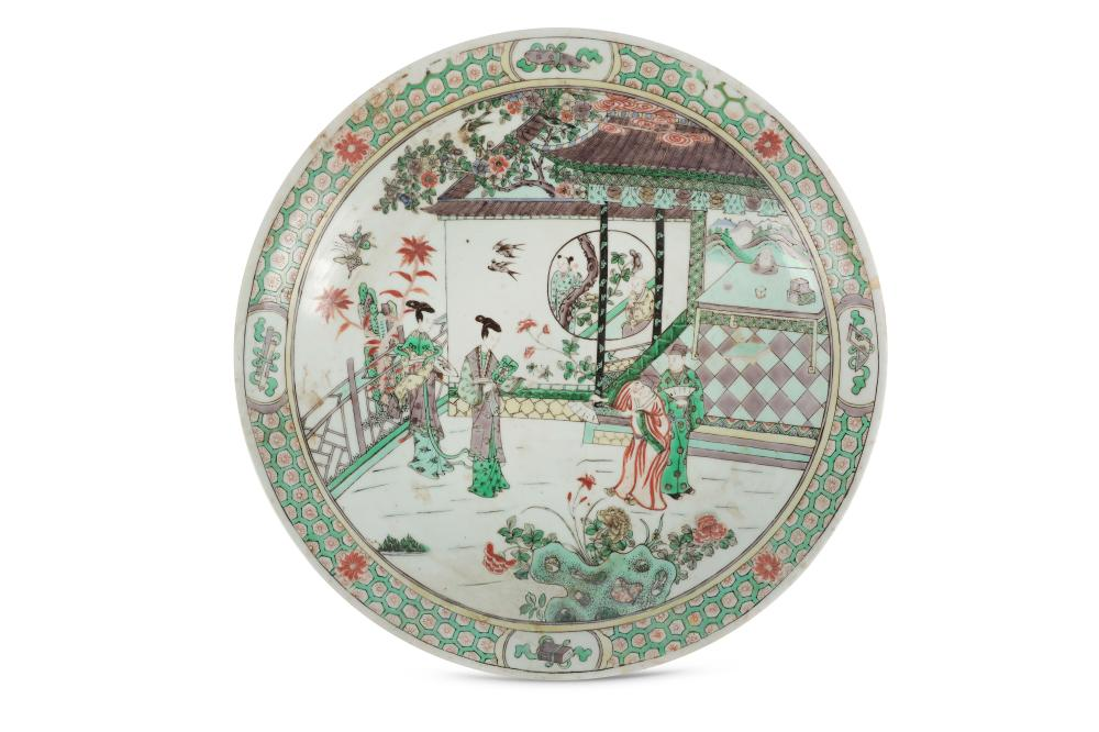 A Chinese famille verte figurative dish.