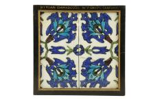 A DAMASCUS POTTERY TILE  16th-17th Century  Formed of two rectangular tiles, decorated with blue, turquoise and green glaze on a white background, in stylised floral design, mounted in a wooden frame, 22.2cm x 22cm   Provenance:  Acquired from Monks of Kensignton Church Street in the 1950s.  The Collection of the Victoria and Albert Museum between 1898 and 1952, when it was deaccessioned from the museum and then sold through Robinson and Foster Ltd, Harrington Road, London on 9 September 1953.  Accompanied by copies of the correspondence with Judith Crouch from the Ceramics and Glass Department at the Victoria and Albert Museum dated to 1995.