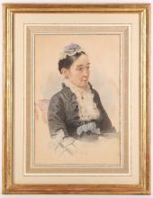 A Victorian watercolour portrait of a lady in black dress and cap, trimmed with lace, picture: 42 x 28cm, mounted, glazed and gilt framed.