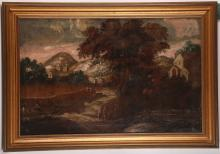 Circa 17th / 18th Century Italian school. An interesting pair of oil on canvas landscape views, 'Stag Hunt', and 'Figures on the Road'. In matching giltwood frames. 39 x 62cm.