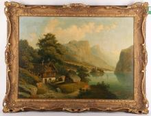 Mid to late 19th Century German school. 'Summer Alpine Lake'. Oil on canvas mountain-scape. Indistinctly signed lower right: 'Ed Koen Du...' Re-lined and in a later giltwood frame. 48 x 68cm.