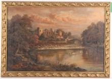 Lizzie Fowler, late 19th Century British. Oil on canvas landscape with watermill and distant views to mountains, possibly Wales. Signed lower right, dated 1888. In a giltwood frame, 49 x 68cm. Together with an oil on canvas riverscape with an oil on canvas riverscape with castle ruins and swan. Signed H. Hayle, late 19th Century. Framed. 30 x 45cm (2).