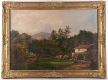 Mid - late 19th Century possibly French school. 'Watermill in the Landscape'. Oil on canvas landscape with distant views. Re-lined. In a good later giltwood frame, 56 x 80cm.