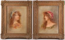 Early to mid 20th Century Continental school. Pair of oil on canvas portraits of a red haired young woman with scarf. Unsigned. In matching framed. 36 x 27cm (2).