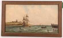 Mid 19th Century marine oil on panel, possibly Dutch. A trader under sail passes up the coast with distant windmills and distant shipping. Framed. 22 x 40cm.