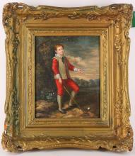 A decorative oil on panel. 'The Young Golfer'. Unsigned. Framed.