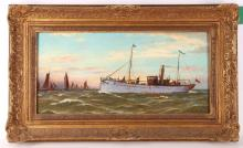 Gerald McBurn. 'Cowes, 1903'. Oil on panel marinescape. A small steamer shadows a fleet of red sailed fishing boats. Signed lower left. Framed. 21 x 43cm.