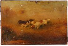 Gerald Rutger Hardenberg 1855-1915. 'Prince of Wales Hounds on the Scent of Quail'. Oil on canvas sporting scene, two hounds in long grass unaware of cowering quail. Signed lower left. On original stretcher. 41 x 61cm.