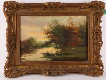 Frederick Jacobus Van Rossum 1856-1917. 'River with a man rowing'. Oil on panel. Signed lower right. In a good giltwood frame. 20.5 x 30.5cm.
